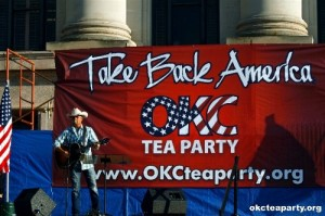 John Rich sings in front of OKC Tea Party Take Back America banner.
