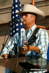 "Above -- Country music singer and Tour headliner John Rich both spoke and sang at the Wednesday evening event.  Providng a surprise to one of the events attendees and long time Tea Party supporter, John sang a personal ""Happy Birthday""."