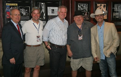 Karl Rove, KTOK's Lee Matthews, Glenn Beck, KTOK's Reid Mullins, and John Rich before the June 26th Taking Our Country Back Tour performance.