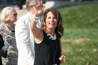 Giving a wave is Congresswoman Michelle Bachmann, head of the Congressional Tea Party Caucus